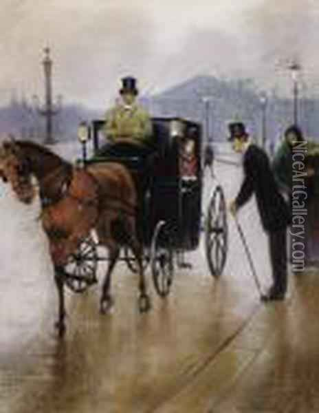 Couple In Carriage Oil Painting - Jean-Georges Beraud