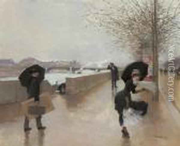 Le Vent Oil Painting - Jean-Georges Beraud