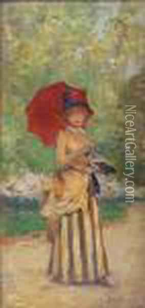 Femme A L'ombrelle  Oil Painting - Jean-Georges Beraud