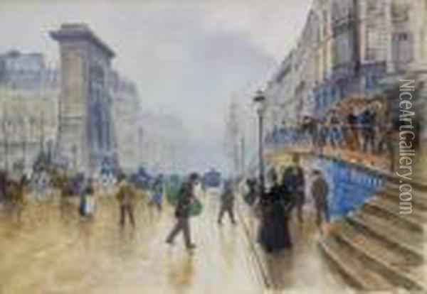 Le Boulevard Saint-denis A Paris Oil Painting - Jean-Georges Beraud