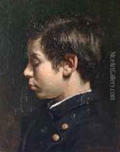 Portrait Of The Artist's Nephew Oil Painting - Jean-Georges Beraud