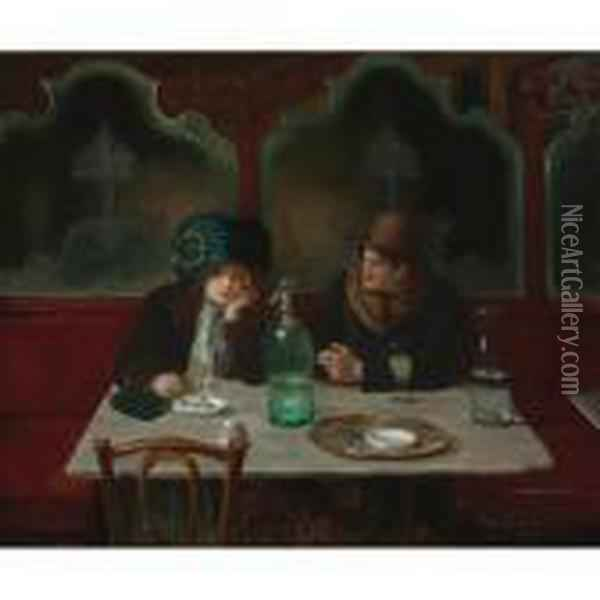 Cafe Society Oil Painting - Jean-Georges Beraud