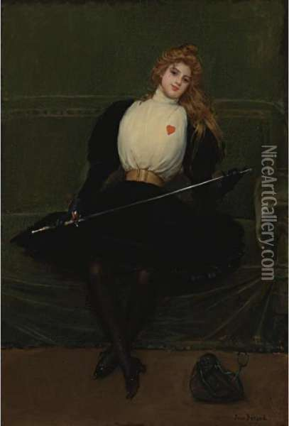 A Woman Fencer Oil Painting - Jean-Georges Beraud