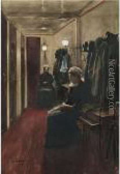 A Busy Night At The Theater Oil Painting - Jean-Georges Beraud