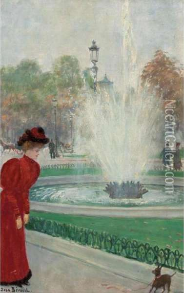 Parisienne Au Rond-point Des Champs-elysees Oil Painting - Jean-Georges Beraud