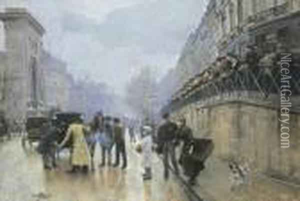 L'accident: Port Saint-denis Oil Painting - Jean-Georges Beraud