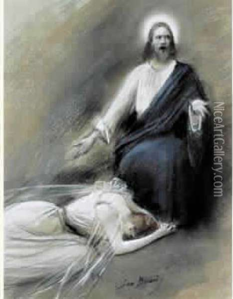Le Christ Et La Femme Adultere Oil Painting - Jean-Georges Beraud