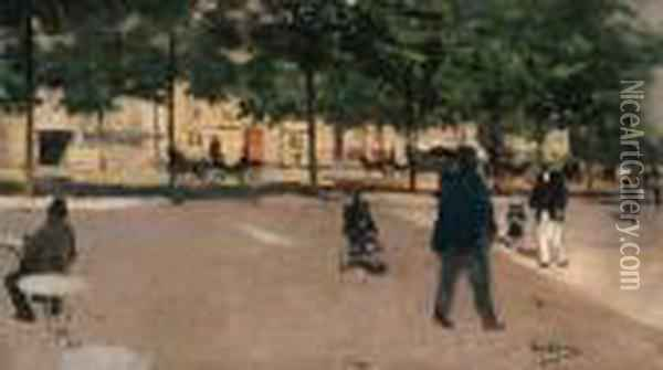 Champs Elyses, Carre Marigny Oil Painting - Jean-Georges Beraud