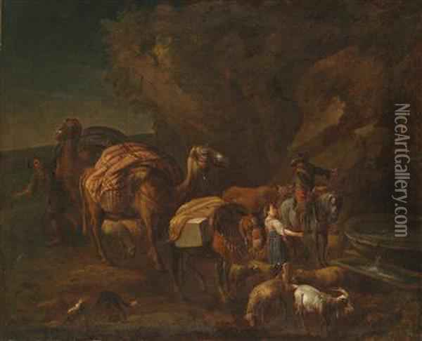An Oriental Landscape With Camel Drivers And Herders Oil Painting - Nicolaes Berchem