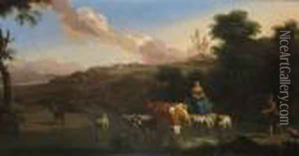 Rustics Cattle And Sheep At A Ford Oil Painting - Nicolaes Berchem