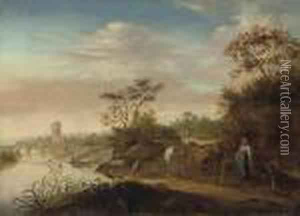 A Wooded River Landscape With A Drover And Her Cattlewatering Oil Painting - Nicolaes Berchem