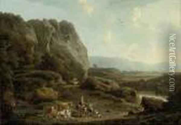 The Road To Market Oil Painting - Nicolaes Berchem