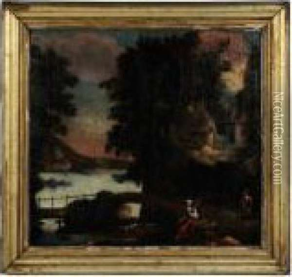 Italianate Landscape, With Two Figures By A Bridge Oil Painting - Nicolaes Berchem