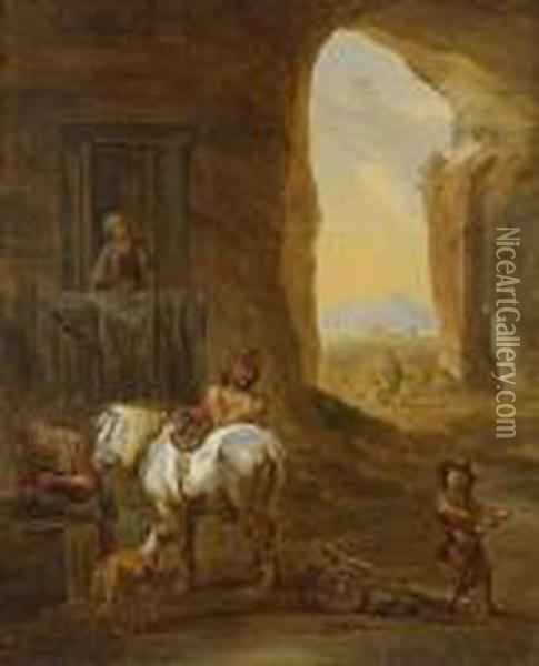 Peasants And A Horse At A Well, A View To An Italianate Landscape Beyond Oil Painting - Nicolaes Berchem