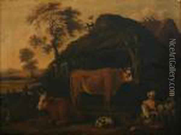 Farmyard With Milkmaid, Cattle And Goats Oil Painting - Nicolaes Berchem