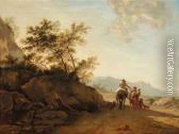 Landscape With A Rider And A Begging Couple Oil Painting - Nicolaes Berchem