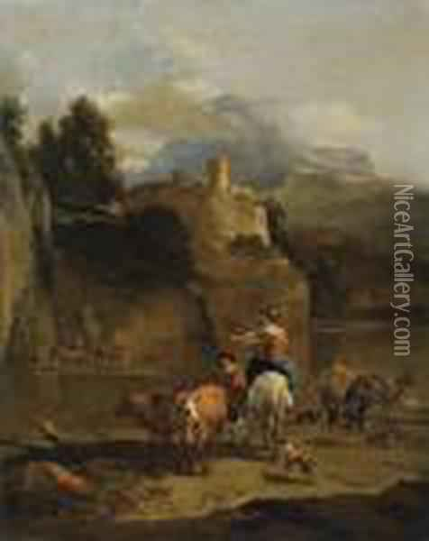 A Mountainous River Landscape With A Herd Of Cattle In The Foreground, A Tower Beyond Oil Painting - Nicolaes Berchem