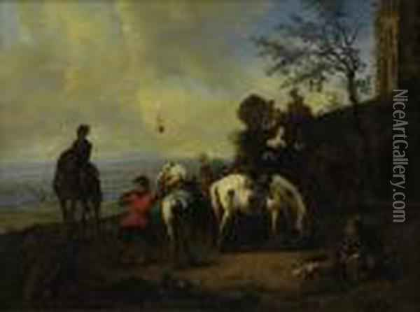 Italianate Landscape With Figures Preparing For A Hunt Oil Painting - Nicolaes Berchem