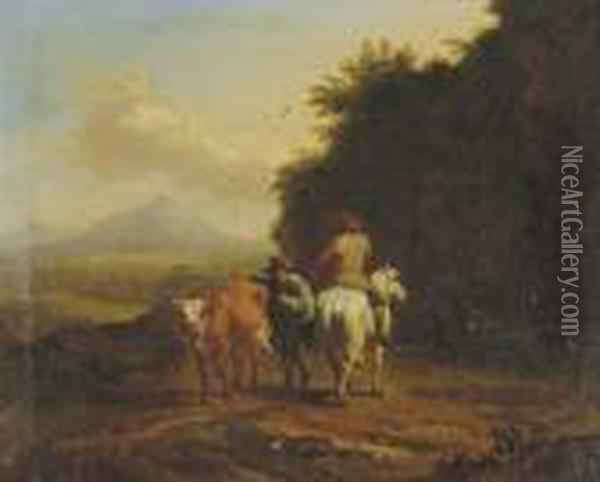 A Traveler And A Herdsman Passing On A Track Oil Painting - Nicolaes Berchem