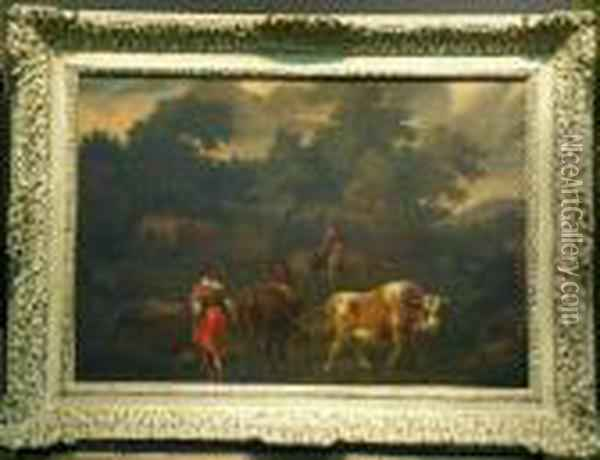 Drovers With Cattle Oil Painting - Nicolaes Berchem