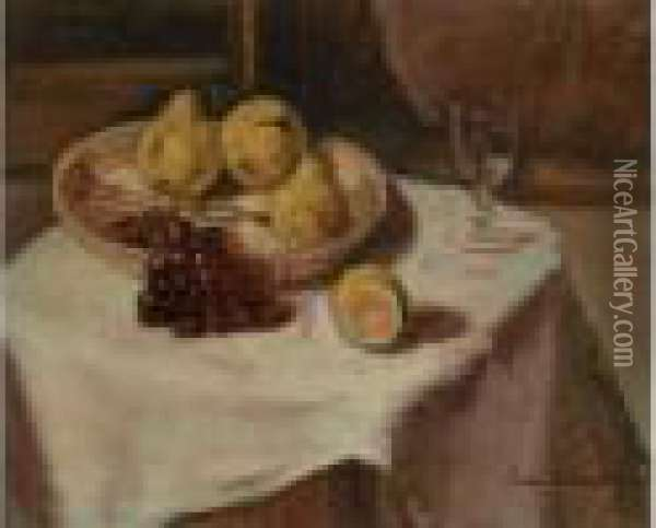 Corbeille De Fruits Sur Une Table Oil Painting - Emile Bernard