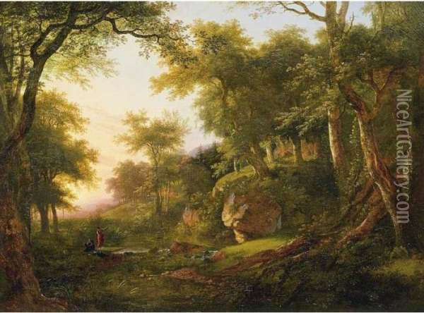 Wooded Landscape With Two Figures Beside A Stream Oil Painting - Jean-Victor Bertin