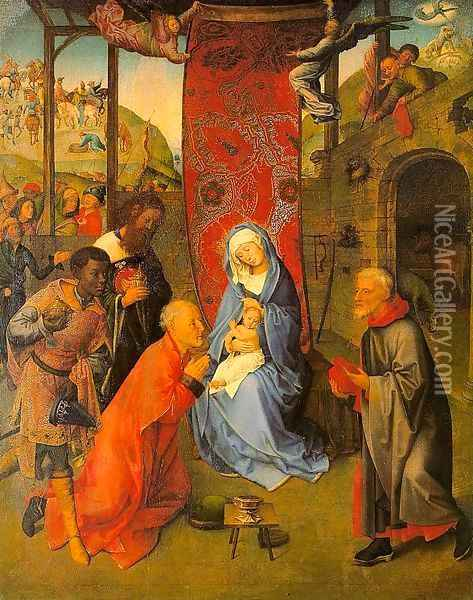 The Adoration of the Magi (central panel of a triptych) Oil Painting - Follower of Hugo van der Goes