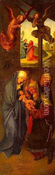 Circumcision (inner-left wing of the Adoration of the Magi triptych) Oil Painting - Follower of Hugo van der Goes