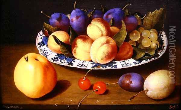 Still life of peaches and plums in a blue and white dish on a table top Oil Painting - Jacob van Hulsdonck