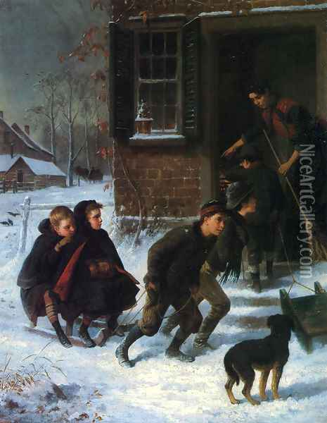 Forbidden to Go Sleigh Riding Oil Painting - William Hahn