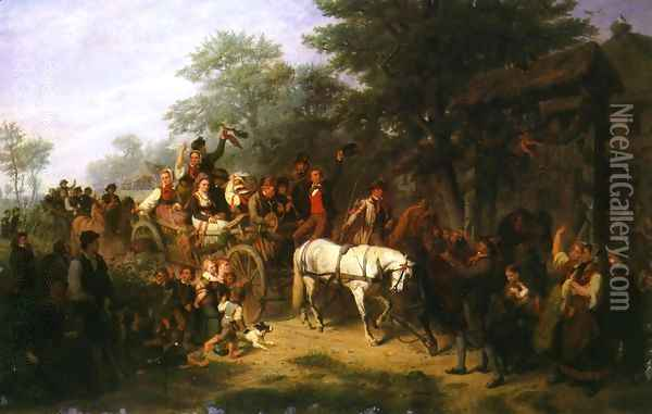 The Village Wedding Oil Painting - William Hahn