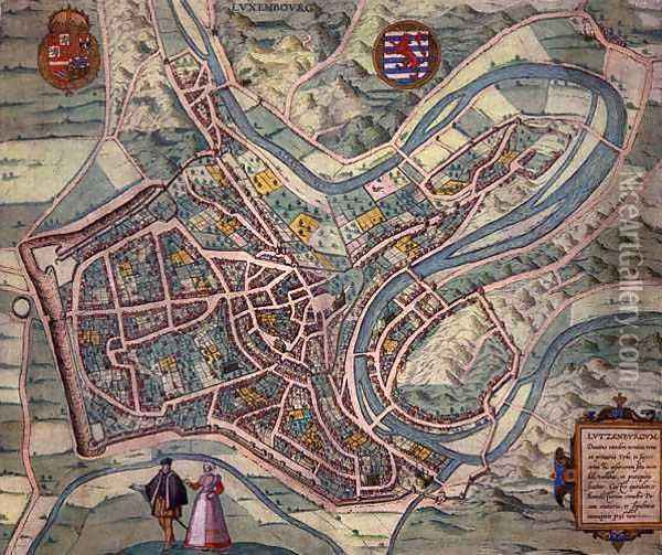 Map of Luxembourg from Civitates Orbis Terrarum Oil Painting - Joris Hoefnagel