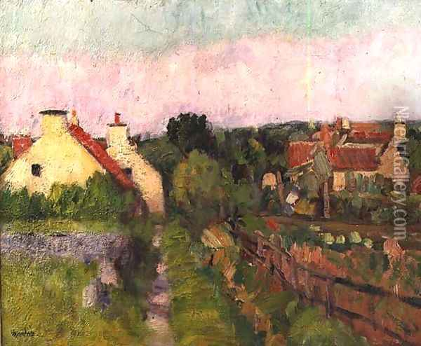 A Fife Village probably Ceres Oil Painting - George Leslie Hunter