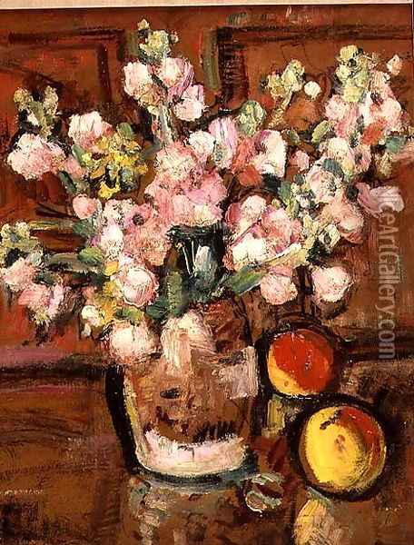 A Still Life of Fruit and Flowers 2 Oil Painting - George Leslie Hunter