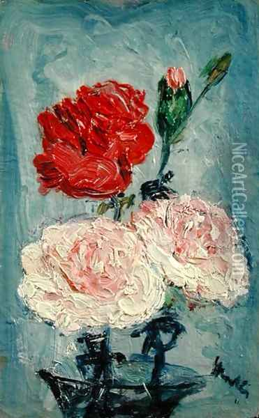 Carnations in a Glass Vase Oil Painting - George Leslie Hunter