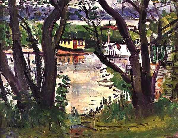 House Boats Loch Lomond Oil Painting - George Leslie Hunter