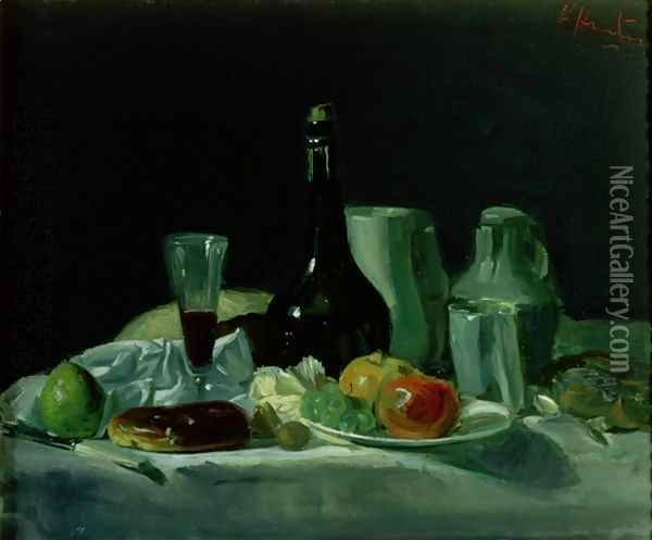 Still Life Bottle and Fruit Oil Painting - George Leslie Hunter