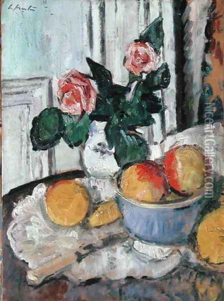 Roses and Fruit Oil Painting - George Leslie Hunter