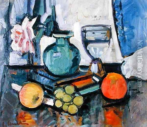 Still Life Rose and Fruit Oil Painting - George Leslie Hunter