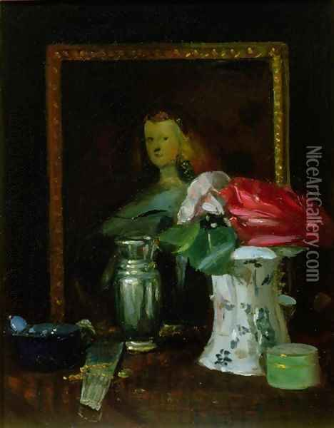 Still Life of Roses Portrait Vase and Fan Oil Painting - George Leslie Hunter