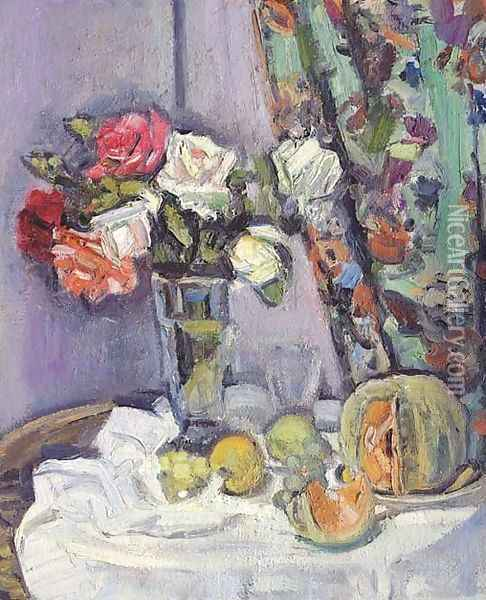 Still life with flowers Oil Painting - George Leslie Hunter