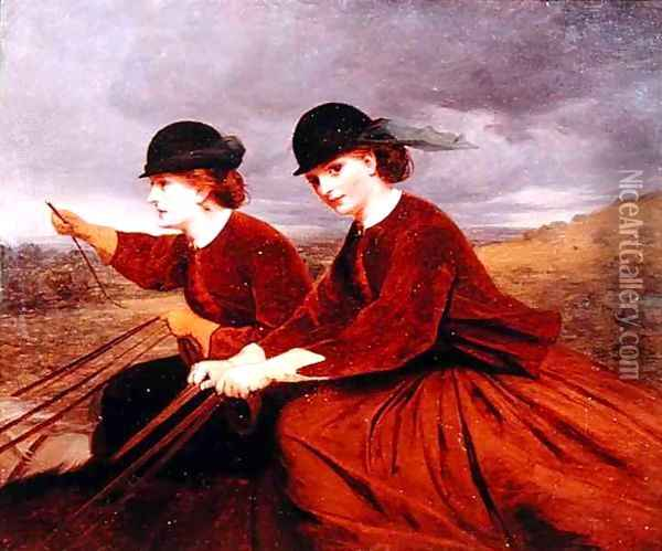 On the Downs Two Ladies Riding Side Saddle Oil Painting - James Hayllar