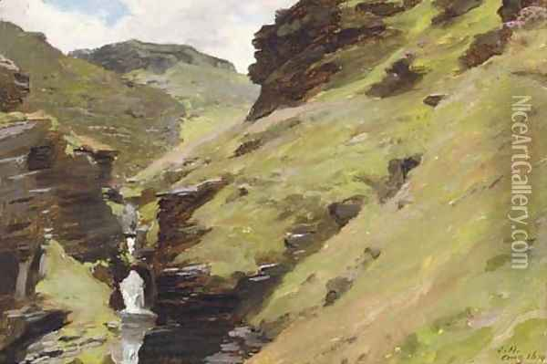 In the rocky valley, near Tintagel, Cornwall Oil Painting - James Hayllar