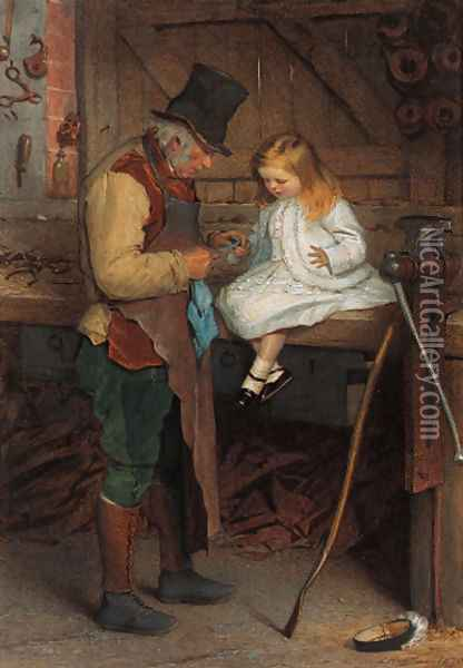 Bandaging the wounded finger Oil Painting - James Hayllar