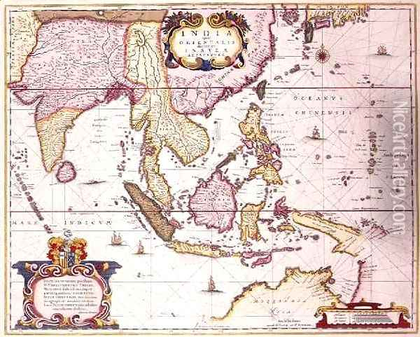 General map extending from India to southern Japan and northern Australia by way of the Indonesian archipelago and the Philippines Oil Painting - Hendrik I Hondius