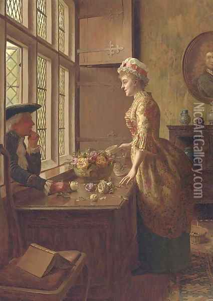 Love at the window Oil Painting - Edwin Hughes