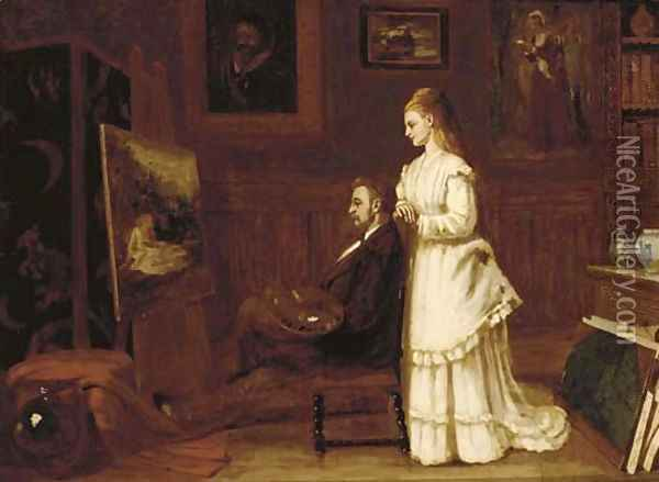 The artist's muse Oil Painting - Edwin Hughes