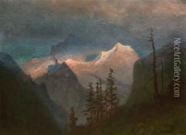 Landscape With Mountains Oil Painting - Albert Bierstadt