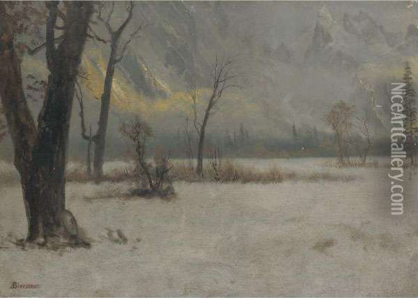 Winter Landscape Oil Painting - Albert Bierstadt