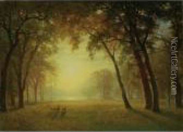 Deer In A Clearing, Yosemite Oil Painting - Albert Bierstadt